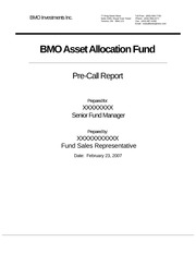 BMO Asset Allocation Fund Pre-Call Report