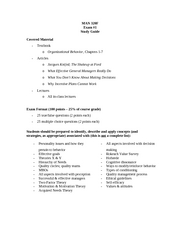 MAN 320F Exam 1 Study Guide
