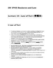 Lecture 10 - Law of Tort