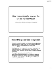 How to numerically recover the sparse representation 2011