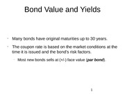 Bond Value and Yields