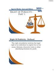 Right Of Publicity slides