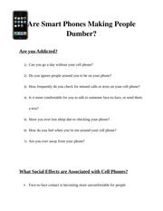 Are Smart Phones Making People Dumber? (Visual Aid)