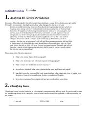 Analyzing Factors of Production