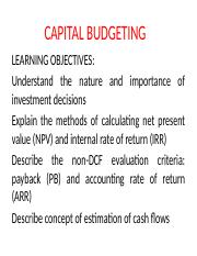 CAPITAL BUDGETING sessions