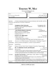 TimMay's Resume
