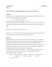 Problems on Multiple Regression II