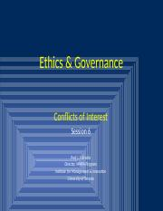 Ethics & Governance  Session 6 - Conflicts of Interest.pptx
