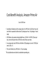 Cost-Benefit Analysis, Amazon Prime Air