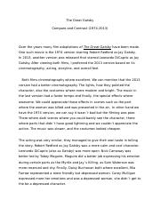 The Great Gatsby compare and contrast.docx