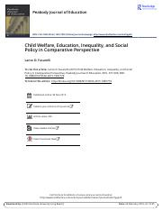Child Welfare Education Inequality and Social Policy in Comparative Perspective