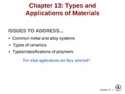 Chapter 13- Types and applications of materials