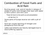 Combustion of Fossil Fuels and Acid Rain