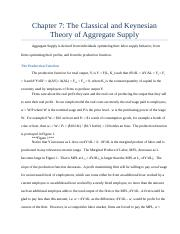 Chapter 7 The Classical and Keynesian Theory of Aggregate Supply