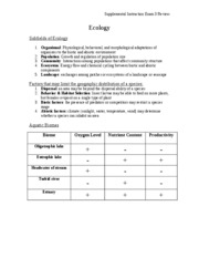 BSC2011 Exam 3 Review Handout