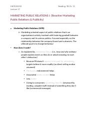Lecture 17 - Public Relations I
