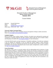 MGCR 271 Course Outline - Summer 2013