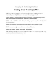 Reading Guide-Three Cups of Tea
