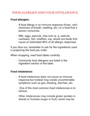 FOOD ALERGIES AND YOUR INTOLERANCE NOTES