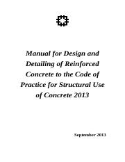 Manual for Design and Detailings of  Reinforced Concrete to  Code of Practice for Structural Use of