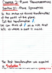 Math 1020 Plane Transformations Notes