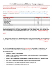Pre Health Assessment and Behavior Change Assignment - Stickney - Fall 2015