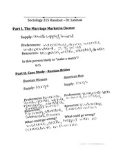 soc 215 marriage market notes
