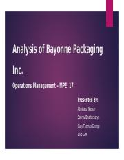 Case Analysis - Bayonne Packaging MPE-17 Final