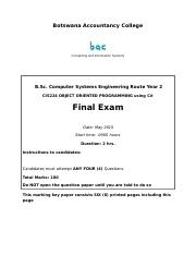 CIS224 Object Oriented Programming using C# Final Exam May 2015.doc