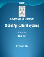 NCA 207 L1 GLOBAL AGRICULTURAL SYSTEMS