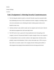 Unit 2 Assignment 1 Selecting Security Countermeasures