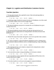 Chapter 11 Logistics and Distribution Customer Service