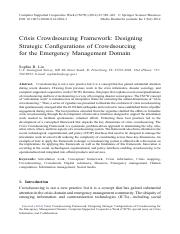 Crisis Crowdsourcing Framework_Designing Strategic Configurations of Crowdsourcing for the Emergency