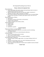 Developmental Psychology Study Guide