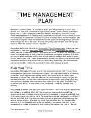 Week 2 Discussion Time Management Plan.docx