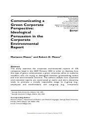 Communiucating a Green Corporate Perspective Journal of Business and Technical Communication-2012-Ma