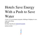 Hotels Save Energy With a Push to Save Water
