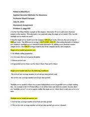 week 5 assignment applied decision methods for business problem 2