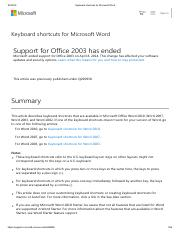 Keyboard shortcuts for Microsoft Word