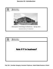 Session 3 - Role of IT in Business