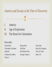 America and Europe at the Time of Discovery.ppt