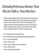 Eliminating Performance Reviews