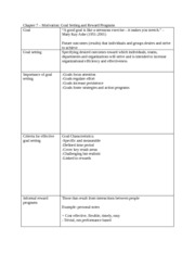 Chapter 7 notes- Goal Setting and Reward Programs