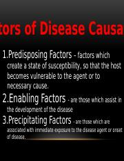 FACTORS OF DISEASE CAUSATION