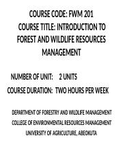 Introduction to Forest and Wildlife Resources Management