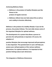 Achieving Wellness Notes