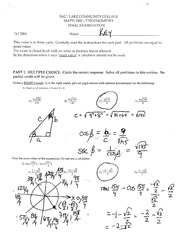 Math 1060 - Final Exam Answer Key