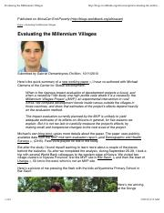 Evaluating the Millennium Villages