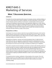 KMGT 643 Marketing of Services - Week 7 DQ