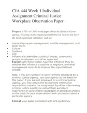 criminal justice workplace observation paper essays Home law essays criminal justice agency title of agency (2): nassau police department web address: http://www police co nassau ny us/ stages/steps in the hiring process: must compete in the required written examination and pass additional screening procedures specific requirements: candidates must.